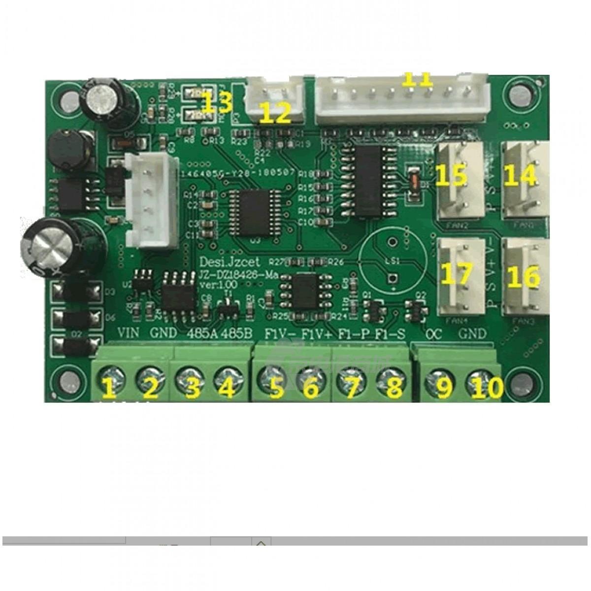 JPF-4816型 4线直流RS485直流风扇运行调速器 支持RS485串口通信,串口指令遵循modbus-rtu协议,风机转速0-100%可调