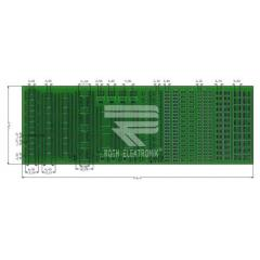 Roth Elektronik 双面 FR4 贴片焊接练习板 RE716001-LF, 11贴片元件, 多种类型封装, 213 x 72 x 1.5mm